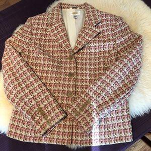 Talbots pink/green/cream blazer, size 10